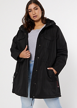 Plus Black Faux Fur Lined Anorak Coat
