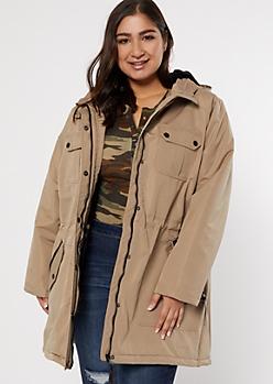 Plus Tan Faux Fur Lined Anorak Coat