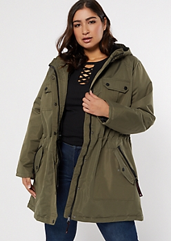 Plus Olive Faux Fur Lined Anorak Coat