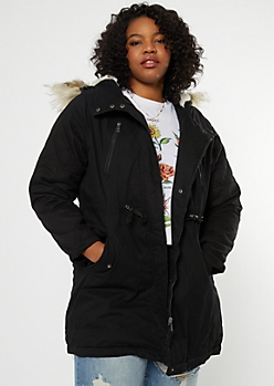 Plus Black Faux Fur Hood Quilted Anorak Coat
