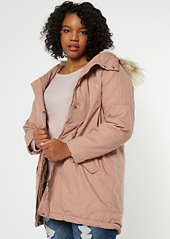 Plus Pink Faux Fur Hood Quilted Anorak Coat
