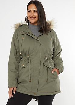 Plus Olive Sherpa Faux Fur Hood Anorak Coat