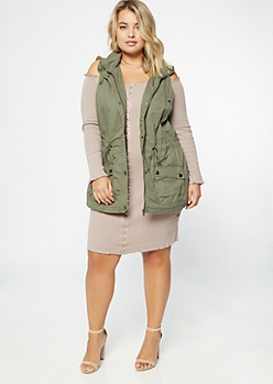 Plus Olive Sherpa Hooded Utility Vest