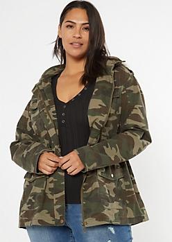 Plus Camo Print Sherpa Hood Anorak Jacket