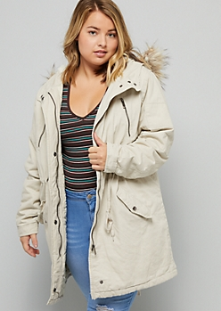 Plus Taupe Faux Fur Hood Cinched Waist Anorak Jacket