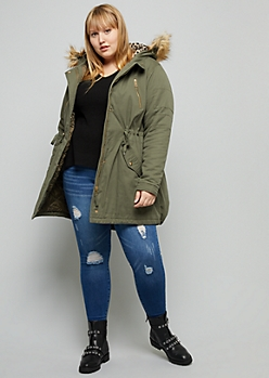 Plus Olive Leopard Print Faux Fur Hood Anorak Jacket