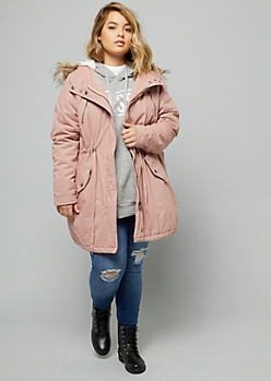 Plus Pink Faux Fur Hood Cinched Waist Anorak Jacket