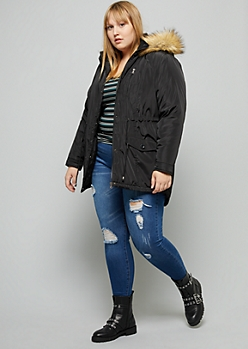 Plus Black Sherpa Faux Fur Trim Hooded Anorak