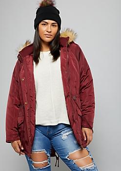 Plus Burgundy Sherpa Faux Fur Trim Hooded Anorak