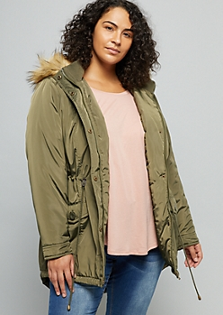 Plus Olive Sherpa Faux Fur Trim Hooded Anorak