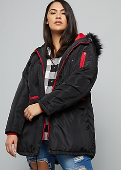 Plus Black Removable Faux Fur Trim Hooded Anorak Coat
