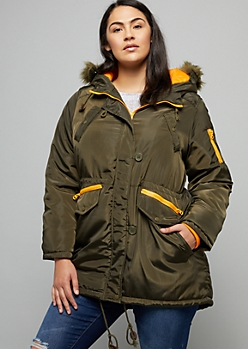 Plus Olive Removable Faux Fur Trim Hooded Anorak Coat
