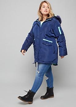 Plus Blue Removable Faux Fur Trim Hooded Anorak Coat