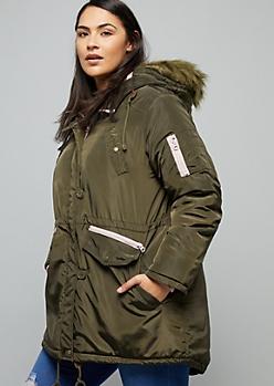 Plus Dark Green Removable Faux Fur Trim Hooded Anorak Coat