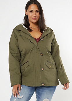 Plus Olive Toggle Sherpa Faux Fur Hood Anorak Coat