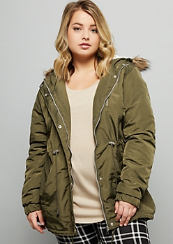 Plus Olive Sherpa Detachable Hooded Anorak