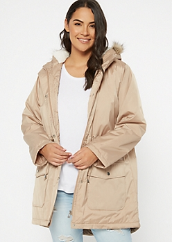 Plus Taupe Nylon Fur Lined Anorak Coat