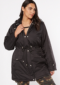 Plus Black Drawstring Waist Anorak Coat