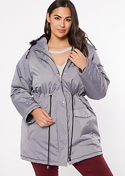 Plus Gray Drawstring Waist Anorak Coat