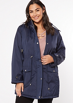 Plus Navy Drawstring Waist Anorak Coat
