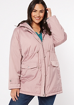 Plus Pink Drawstring Waist Anorak Coat