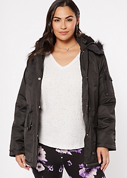 Plus Black Drawstring Utility Anorak Coat