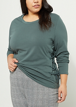 Plus Dark Green Lace Up Long Sleeve Top