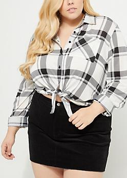 Plus Black Plaid Print Tie Front Flannel Shirt