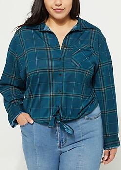 Plus Green Tie Front Boyfriend Plaid Shirt