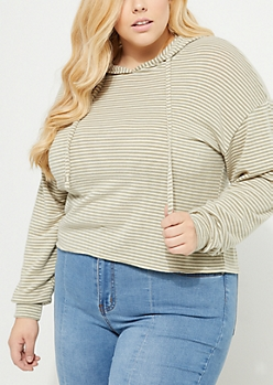 Plus Olive Striped Pattern Cropped Hacci Hoodie