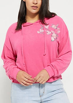 Plus Pink Embroidered Hacci Knit Crop Hoodie