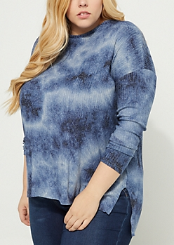 Plus Navy Tie Dye Oversized Hacci Knit Tunic