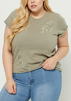 Plus Olive Embroidered Roses Soft Knit Tee
