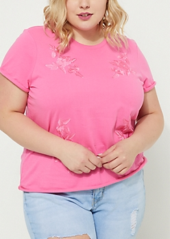 Plus Pink Embroidered Roses Soft Knit Tee