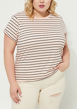 Plus Light Pink Striped Soft Knit Tee