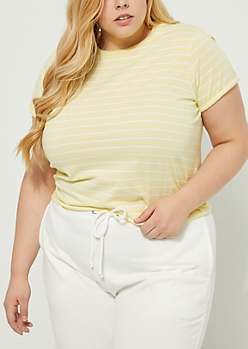Plus Light Yellow Striped Soft Knit Tee