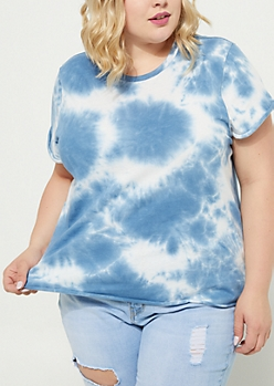 Plus Light Blue Rolled Sleeve Tie Dye Tee
