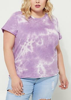 Plus Lavender Rolled Sleeve Tie Dye Tee