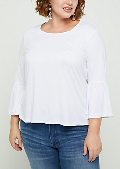Plus Ivory Ruffled Bell Sleeve Top