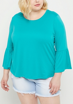 Plus Teal Ruffled Bell Sleeve Top