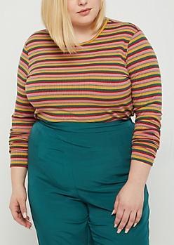 Plus Pink Striped Long Sleeve Crop Top