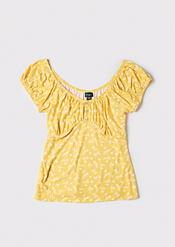 Plus Yellow Ditsy Print Puff Sleeve Ruched Top