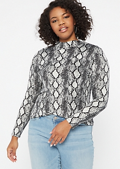 Plus Snakeskin Print Super Soft Turtleneck Top