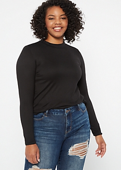Plus Black Super Soft Turtle Neck Top