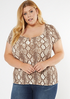 Plus Snakeskin Print Structured V Neck Ribbed Top