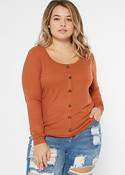 Plus Burnt Orange Button Front Ribbed Knit Top