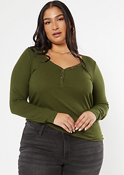Plus Dark Olive Button V Neck Ribbed Knit Top