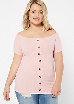 Plus Pink Ribbed Knit Button Down Top