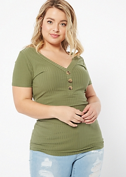Plus Olive V Neck Button Front Ribbed Tee