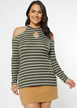 Plus Olive Striped Cold Shoulder Keyhole Top